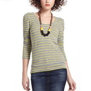 Anthropology DOLAN Striped Ruched Sleeve Top Large